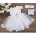HANDMADE BABY GIRL WHITE/PINK CHRISTENING DRESS & HEADBAND & SHOES SET STYLE AGATHA