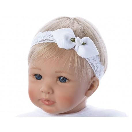 White/Green Handmade Christening Headband Style 1222