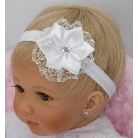 White Christening Handmade Headband Style 3733