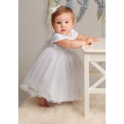 Sevva White Tulle Princess Christening Dress with Overlay & Bonnet Style L321