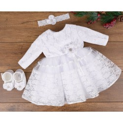 HANDMADE BABY GIRL WHITE CHRISTENING DRESS & HEADBAND & SHOES SET STYLE ELAINE