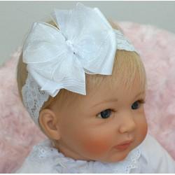 Handmade White Baby Girl Christening Headband Style 334