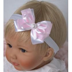 White/Pink Handmade Baby Girl Christening Headband Style 536