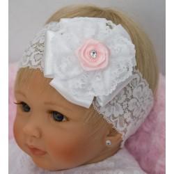 HANDMADE WHITE/PINK BABY GIRL CHRISTENING HEADBAND STYLE 333