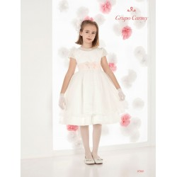 HANDMADE IVORY/PINK FIRST HOLY COMMUNION BALLERINA LENGTH DRESS STYLE 9700