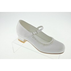 White Satin First Holy Communion Shoes Style 4963