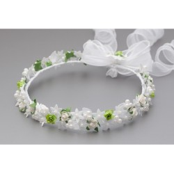 WHITE/GREEN FIRST HOLY COMMUNION HEADDRESS STYLE W-069