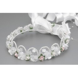 WHITE/PINK FIRST HOLY COMMUNION HEADDRESS STYLE W-241
