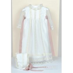 AMAYA HANDMADE IVORY/PINK CHRISTENING/BAPTISM BABY GIRL GOWN STYLE 512004ML