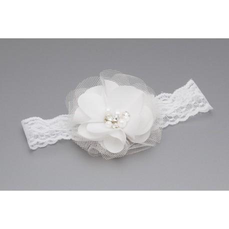 White Handmade Baby Girl Christening Headband Style C-027