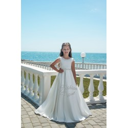 White Satin First Holy Communion Dress Style 20-0356