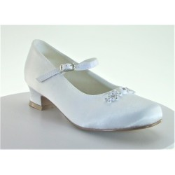 White Satin First Holy Communion Shoes Style 5807