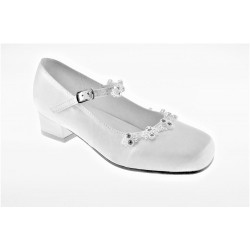 White Satin First Holy Communion Shoes Style EMMA