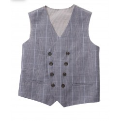 LIGHT BLUE CHECKERED FIRST HOLY COMMUNION/SPECIAL OCCASION WAISTCOAT STYLE 10-10011