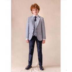 LIGHT BLUE/NAVY CHECKERED FIRST HOLY COMMUNION/CONFIRMATION JACKET STYLE 10-04055