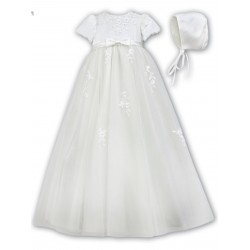 Sarah Louise Baby Girl Ivory Christening Gown & Bonnet Style 001054