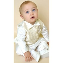 Boys Vivaki Checkered Christening Suit in Ivory/Gold CR00GOLD