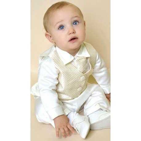 Boys Vivaki Checked Christening Suit in Ivory/Gold CR00GOLD