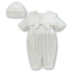 Sarah Louise Ivory Silk Baby Boy Christening Romper Style 002238 BIS