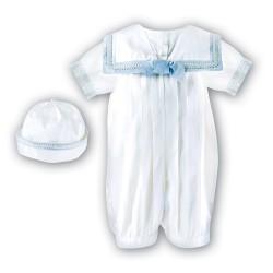 Sarah Louise Ivory/Blue Silk Baby Boy Christening Romper Style 002238 BIS