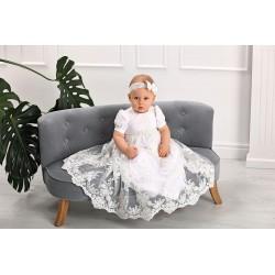 White/Ivory Baby Girl Christening Gown&Headband Style IB004