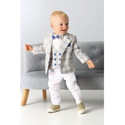 Chequered Gray Baby Boys Special Occasion Outfit Style A666
