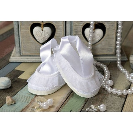 LACE CHRISTENING SHOES BALLERINA STYLE M018