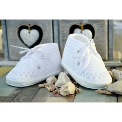 Corduroy Baby Boys Christening/Baptism White/Silver Shoes Style M052