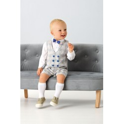 Chequered Gray Baby Boys Special Occasion Outfit Style A777K GRAY