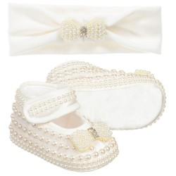 Richly Decorated Baby Girl Christening/Special Occasion White Shoes with Headband 1955