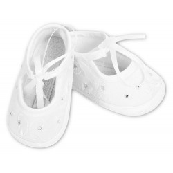 Sarah Louise White Satin Baby Girl Christening Shoes Style 004410