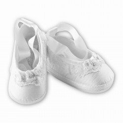 Sarah Louise White Christening Baby Girl Shoes Style 004434