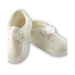 Sarah Louise Ivory Baby Boy Christening Shoes Style 004477