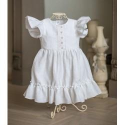 Handmade Christening/Baptism Baby Girl Linen Dress Style LENA BIS
