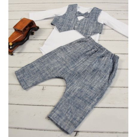 NAVY/WHITE HANDMADE BABY BOY CHRISTENING OUTFIT STYLE CHRIS