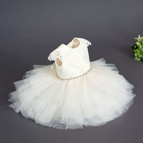 TETER WARM HANDMADE BABY GIRL IVORY/PINK CHRISTENING DRESS STYLE B39