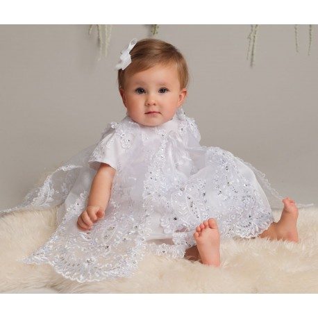 SEVVA WHITE TULLE PRINCESS CHRISTENING DRESS WITH OVERLAY & BONNET STYLE L528