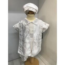 Sevva White Baby Boy Christening Romper Style 605
