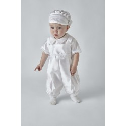 White Baby Boy Christening Romper Style BEN