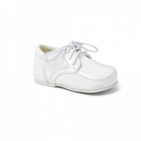 White Leather Baby Boy Christening Shoes by Sevva Style 2507