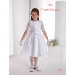 Spanish Handmade White Ballerina Length First Holy Communion Dress Style 2706