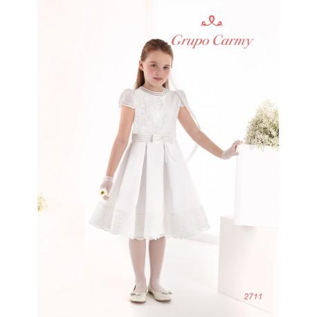 Spanish Handmade Ivory Ballerina Length First Holy Communion Dress Style 2711
