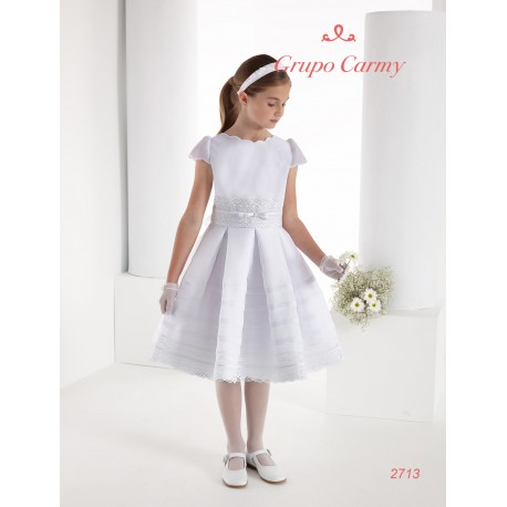 CARMY HANDMADE FIRST HOLY COMMUNION DRESS IN WHITE STYLE 2713