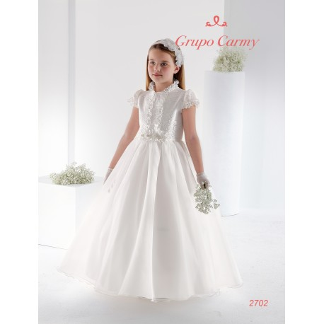 CARMY HANDMADE FIRST HOLY COMMUNION DRESS IN IVORY STYLE 2702