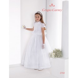 SPANISH WHITE HANDMADE BALLERINA LENGTH FIRST HOLY COMMUNION DRESS STYLE 2704