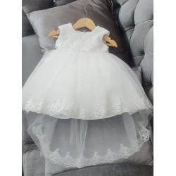 WHITE CHRISTENING TULLE BABY GIRL DRESS KHLOE BY SEVVA