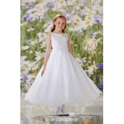 JOAN CALABRESE WHITE TEA-LENGTH FIRST HOLY COMMUNION DRESS STYLE 120349
