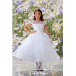 JOAN CALABRESE WHITE TEA-LENGTH FIRST HOLY COMMUNION DRESS STYLE 120351