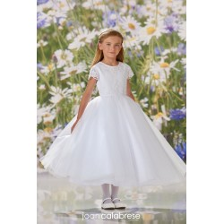 JOAN CALABRESE WHITE TEA-LENGTH FIRST HOLY COMMUNION DRESS STYLE 120356