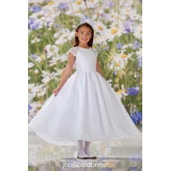 JOAN CALABRESE WHITE TEA-LENGTH FIRST HOLY COMMUNION DRESS STYLE 120344